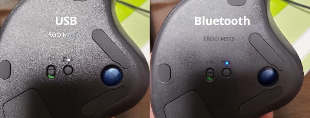 USBは白、Bluetoothは青。ボタン1つで容易にスイッチング可能。